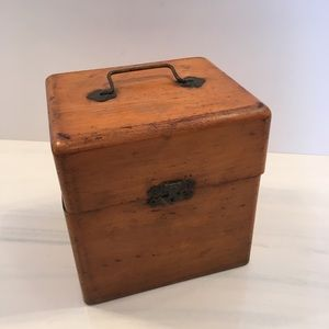 Antique Wooden Box with a Hinged Lid